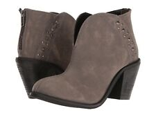 Dan Post Dingo Boots Dove Heeled Studded Western Ankle Booties Grey Leather 10