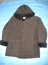 ST. JOHNS  WOMENS BAY LEATHER Brown Suede FAUX FUR LINED Hooded Jacket Coat Sz L