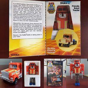 1984 VTG SUPER GOBOTS S2 STAKS Robot Figure + ACCESSORIES + BOX TONKA Bandai