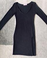 New size 10 basic black slit long sleeve round neck dress