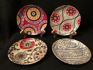 "Pier 1 Imports Set of 4 - 5.75"" Floral Geometric Design Porcelaine Snack Plates"