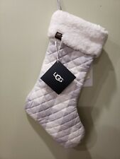 """UGG Plaid Camper Christmas Stocking Gray & White 21"""" Home Collection NWT"""