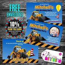 Personalised Joey the JCB / Digger / Construction theme Party Invitations x 5