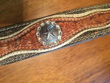 """Nocona Belts Genuine Leather 38 Metal Pieces For 1 and 1/2"""" Buckle Used"""