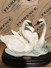 RARE GIUSEPPE ARMANI #1386S A PAIR OF SWANS 1999  ITALY FIGURINES NEW IN BOX.