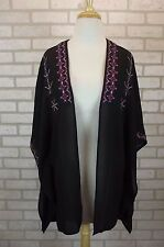 NEW Sanctuary Top Blouse Black One Size Open Front Cardigan Dolman Womens Sheer