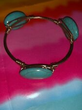 Turquoise & Gold Tone Oval Round Stones Hand Twisted Wire Bangle Bracelet Pretty