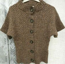 ( Ref 1737 ) Laura Ashley - Size 14 - Brown Short Sleeve Lambswool Cardigan