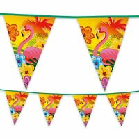 Hawaiian Luau Summer Tropical Flamingo  Flag Bunting Garland Party Banner