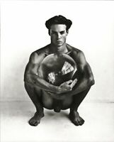 1989 Vintage HERB RITTS Male Nude With Sphere Duotone Photo Engraving Art 11x14