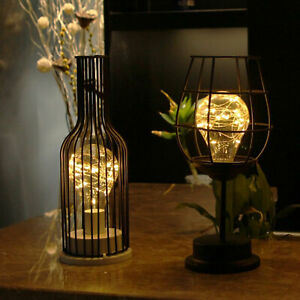 Retro Table Lamp Geometric Wire Industrial LED Light Bulb Bedside Desk Light