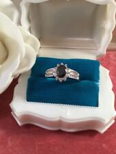Antique Jewellery White Gold Ring Black Sapphire Stones size Z Vintage Jewelry