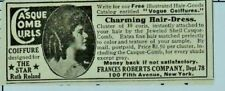 1916 Print Ad hair extensions ringlets Ruth Roland