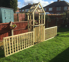 wooden garden arch with side fencing and a gate for delivery see description