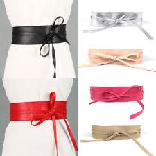 Women Lady Stretch Buckle Waist Belt Bow Wide Leather Elastic Corset Waistband