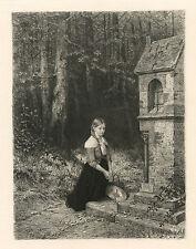 "Ernst Carl Forberg / Hubert Salentin etching ""Prayer in the Forest"""