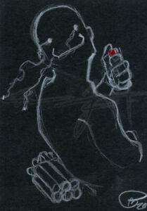 ORIGINAL WarrenS Art Card ACEO ATC OC Chaos Man Bomb Detonator Sketch Artwork