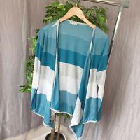 PER UNA Size 18 Green Grey Striped Waterfall Buttonless Cardigan