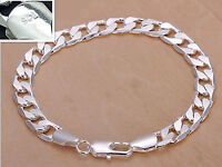 "925 Sterling Silver plating bracelet men""s 8MM flat Fashion Italy Jewelry gift"