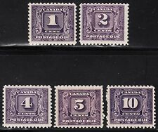 Canada Postage Dues, Scott J6-J10, F-VF to VF MH, catalogue - $283