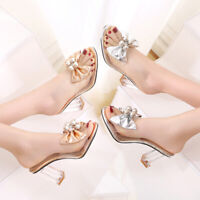 Women's Clubwear Bowtie Sandals Slipper Shoes Transparent Shoes Summer Party Sz