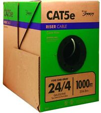 CAT5e CU Wire 1000 Ft. Spool Gray 24/4 Network Cable Roll Office Intranet Wiring