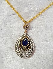 Sterling Silver Overlaid Faceted Sapphire & Zircon Gemstone Pendant with chain