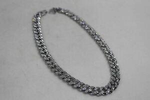 "Men's Hip Hop Style Iced 18"" Miami Cuban Choker Necklace Silver Tone Design NEW"
