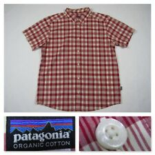 Patagonia Mens XL Plaid Red Organic Cotton Button Front Short Sleeve Shirt New