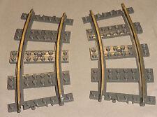 x2 Lego Electric Train Track 9v 9 VOLT Curved Train Track OLD DARK GRAY