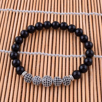 Fashion Bracelet 8mm Natural Black Onyx Jewelry Zircon Beaded Stretch Bangle