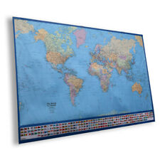 World Map Wall Art Poster Children's Banner Canvas Large With Country Atlantic