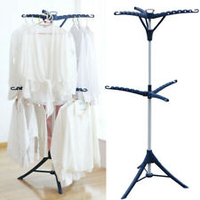 Tripod Clothes Drying Rack Laundry Room Expandable Rod Clothing Holder 2-layer