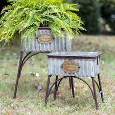 "Country Set Of Two ""Poland"" Tubs With Stands Farmhouse Rustic Primitive Garden"