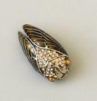 Vintage style Cicada brooch in enamel on metal with crystals