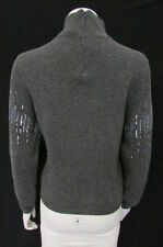 VALENTINO WOMEN GRAY FASHION SWEATER CASHMERE EVENING KNIT SILVER FANCY BEADS 10