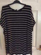 Bnwt Ladies F&F Black/white Striped Short Sleeve Top,size 22