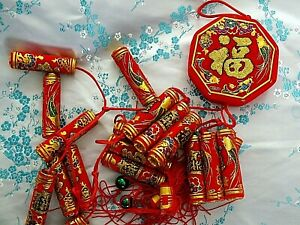 ARTIFICIAL CHINESE L 86cm RED FIRECRACKERS WEDDING BIRTHDAY NEW YEAR PARTY a4