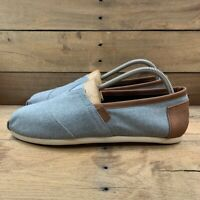 Toms Mens Alpargata Frost Slip On Shoes Blue Brown Chambray 10008337 9.5 New
