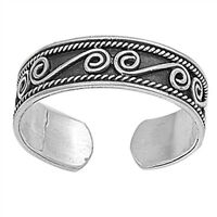 Adjustable .925 Sterling Silver Bali Dots Hammered Look Summer Cute Toe Ring