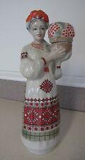 Russian Ukrainian Porcelain Figurine Woman Basket Berry Bottle Девушка корзина