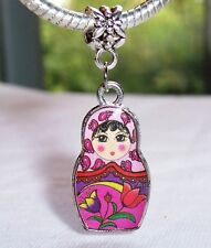 Russian Doll Russia Trip Fuchsia Dangle Bead fits Silver European Charm Bracelet