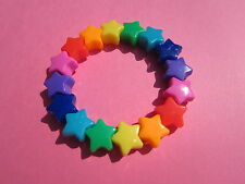 Childs Kids Rainbow Plastic Star Bead Elastic Bracelet Summer Party Bags