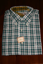 Men'S THOMAS BURBERRY MANICA LUNGA CAMICIA CHECK VERDE Colletto Con Bottoni Taglia XL
