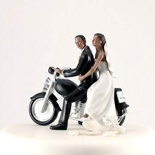 Romantic Motorcycle Getaway Ethnic Wedding Cake Topper Custom Hair Colors Avail.
