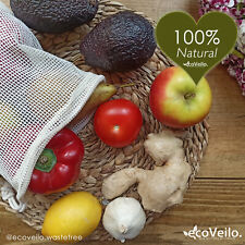 Organic Cotton Vegetable Bags Reusable Cotton Produce Bags ecoVeilo