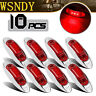 10x Red Side Light LED Marker Truck Trailer ABS Clearance Lamp Chrome Base Car
