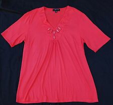 LADIES CORAL MY SIZE V NECK TSHIRT TOP SIZE XS - APPROX 14