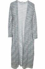Soft Surroundings Long Cardigan Duster Sweater Plus Size 2X Open Knit Blue White