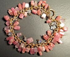Artisan Toggle Clasp Bracelet Cherry Quartz Pink Satin Glass Crystal Gold Tone